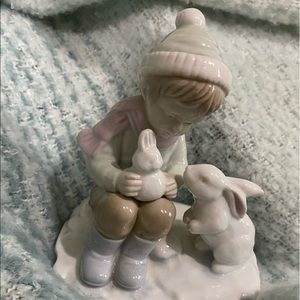 Boy and Bunnies by Roman porcelain made in Japan